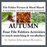 Autumn File Folder Activities - Picture & Word Match