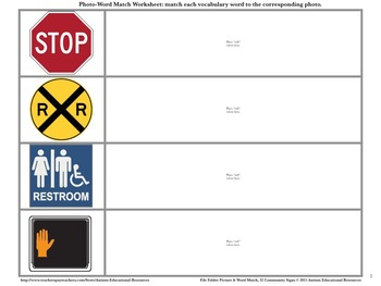 Community Signs - Four File Folder Activities, Picture & Word Match