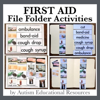First Aid File Folder Activities - Picture & Word Match
