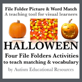 Halloween File Folder Activities - Picture & Word Match