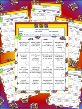 Four Book BINGO (2nd, 3rd, 4th, 5th, and 6th grade)- BUNDLE PACK- reading