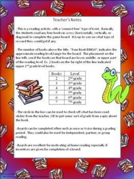 Four Book BINGO (2nd grade)- Independent Reading Activity