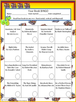 image relating to 4th Grade Reading Games Printable titled 4 E book BINGO (4th quality)- Individual Looking at Sport