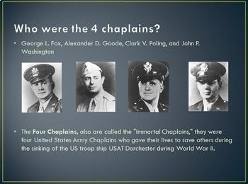 Four Chaplains Power Point (3rd grade Social Studies TEKS 14b)