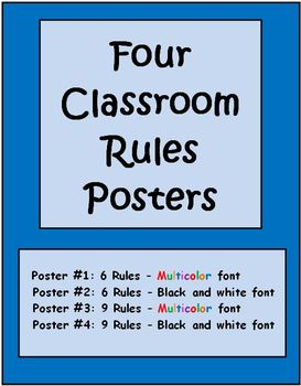 Four Class Rules Posters - Editable