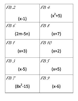 Four Color Activity - Factoring Binomials and Trinomials