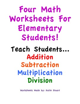Four Colorful Math Worksheets For Elementary Students!!