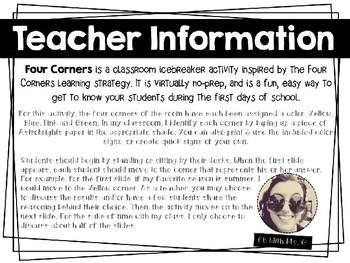 Four Corners Classroom Icebreaker