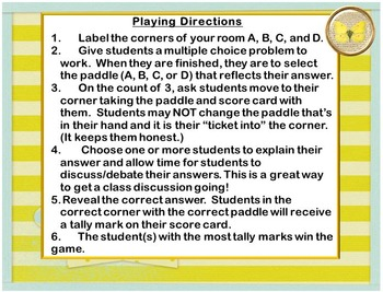 Four Corners Game Template:  For Multiple Choice Questions