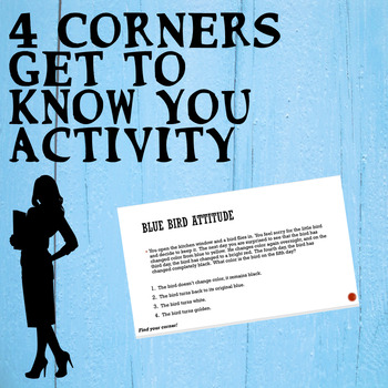 """Back to School Four Corners """"Get to know you"""" Personality Activity"""