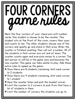Four Corners Recess Game