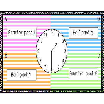 Four Corners - Telling Time to the Minute, Minutes Past, Quarter & Half Past