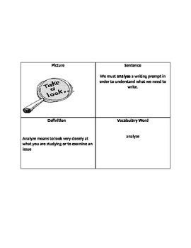 Four Corners Vocabulary Box Example