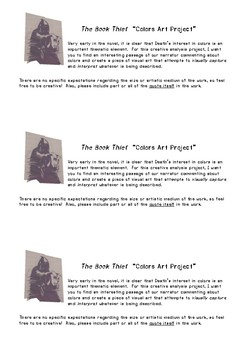 Four Different Project Ideas + Handouts for The Book Thief
