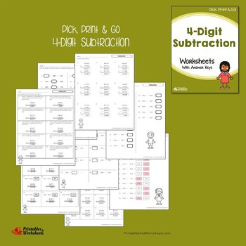 4 Digit Addition And Subtraction With Without Regrouping Across Zeros Worksheets