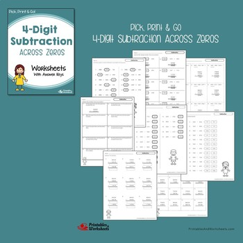 Adding And Subtracting 4 Digits With And No Regrouping, Across Zeros Worksheets