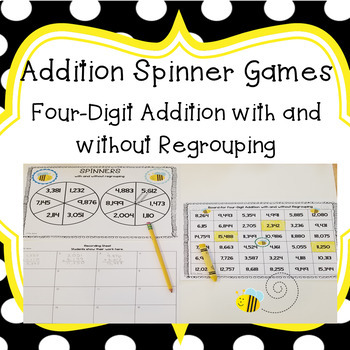 Four Digit Addition Spinner Game