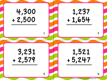 Four-Digit Addition Task Cards- With and Without Regrouping
