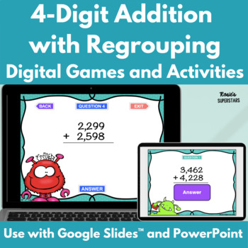 Four Digit Addition With Regrouping Games- 4 Monster Theme
