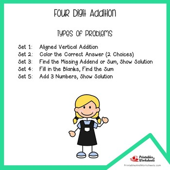 Four Digit Addition Worksheets With Answer Keys