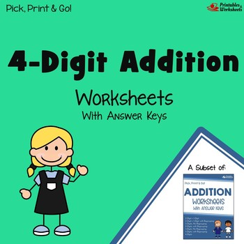 Four Digit Addition With Regouping, Without Regrouping Mixed Worksheets