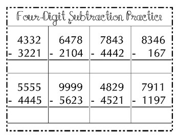 Four Digit Addition and Subtraction Practice