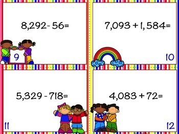 4 Digit Addition and Subtraction with Regrouping Task Card Bundle: 108 Cards