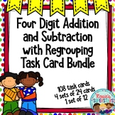 4 Digit Addition and Subtraction with Regrouping Task Card