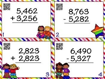 4 Digit Addition and Subtraction with Regrouping Task Card Bundle w/ QR Codes
