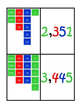 Four Digit Numbers Using the Montessori Stamp Game Matching Cards FREEBIE