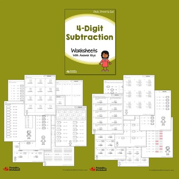 Four Digit Subtraction, Subtracting 4 Digit Numbers