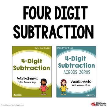 Four Digit Subtraction Worksheets, Subtracting 4 Digit Numbers