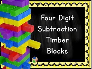 Four Digit Subtraction Timber Blocks