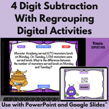 Four Digit Subtraction With Regrouping Games- 4 Monster Themed PowerPoint Games