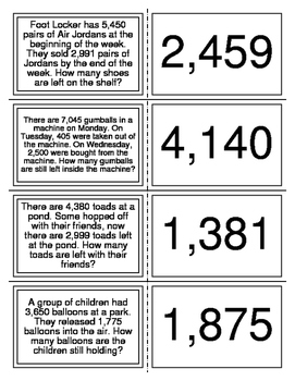 Four Digit Subtraction Word Problem Flashcards
