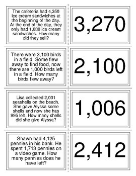 Four Digit Subtraction Word Problems by SD's Educational ...