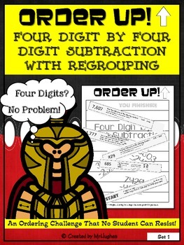 Four Digit by Four Digit Subtraction with Regrouping - Order Up! Set 1