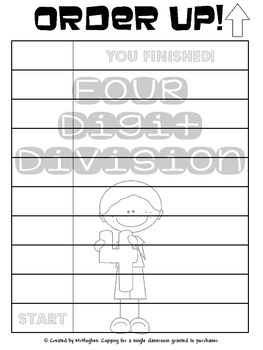 Four Digit by One Digit Division - Order Up! Set 1