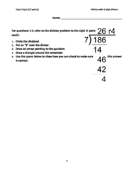 Four Digit by Two Digit Division Quiz