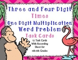 Four Digit times Single Digit Multiplication Word Problem Task Cards: Grades 4-5