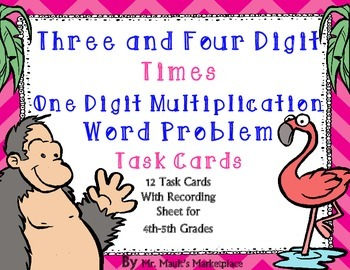 Four Digit times Single Digit Multiplication Word Problem Task Cards: Grades 4-5