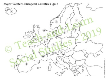 Four Editable Europe Geography Quizzes - Western, Central & Eastern ...