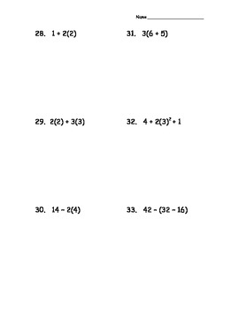 Four Functions and Order of Operations Evaluation