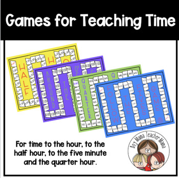 Four Games for Teaching Time (O'Clock,  Half Past, Quarter Hour, 5 minutes)