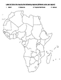 Four Geographical Regions of Africa Map