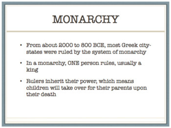Four Governments of Ancient Greece PowerPoint and Worksheet