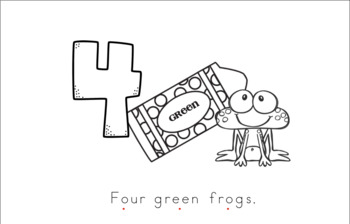 Four Green Frogs Early Emergent Reader (Beside) - Black & White Version