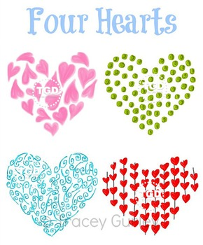 Four Hearts - Original art download, printable hearts Tracey Gurley Designs