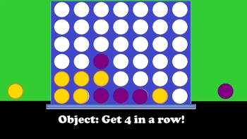 Four In A Row - Connect Four Style Review Game Board and Instructions