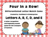 """Four In A Row!"" Letter Recognition Game (A, B, C, D, E)"